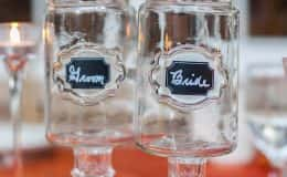 Bride and Groom Toasting Glasses Mason Jars