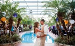 Bride and Groom's First Dance by the Pool