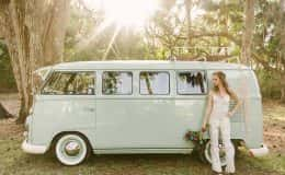 Bride and VW Bus