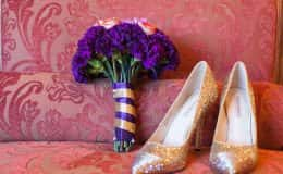 Bride's Gold Sparkle Heels with Purple Bouquet