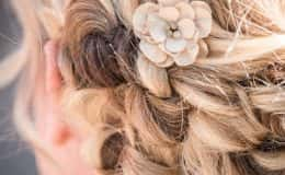 Bride's hair with floral accent
