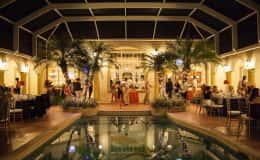 Dancing Poolside Wedding Reception
