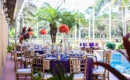 Elegant Purple and Gold Wedding Reception