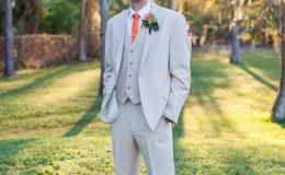 Groom at Sunset in Khaki Suite