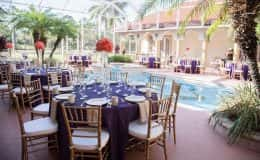Poolside Purple and Gold Wedding Reception