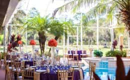 Poolside Wedding Reception with Gold Chiavari Chairs