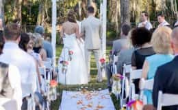 Rustic Wedding Ceremony with Flower Aisle Runner