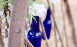 Wagon Wheel with blue bottles
