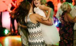 dancing fun with flower girl