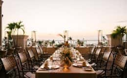 table setting at sunset