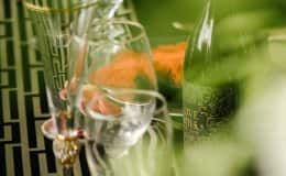 Bride and groom champagne toasting glasses