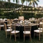 Guest tables set for dinner reception