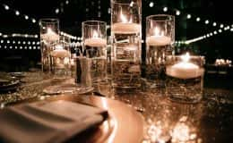 Sweetheart table with candlelight